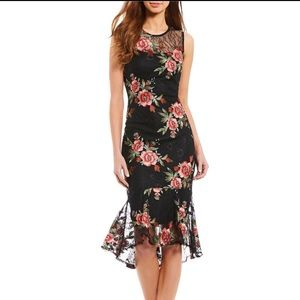 Calvin Klein Floral Lace Midi Sheath Dress